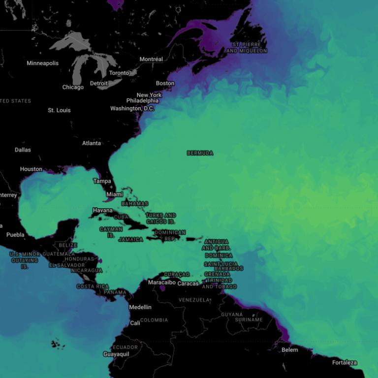 sea surface salinity, Atlantic Ocean