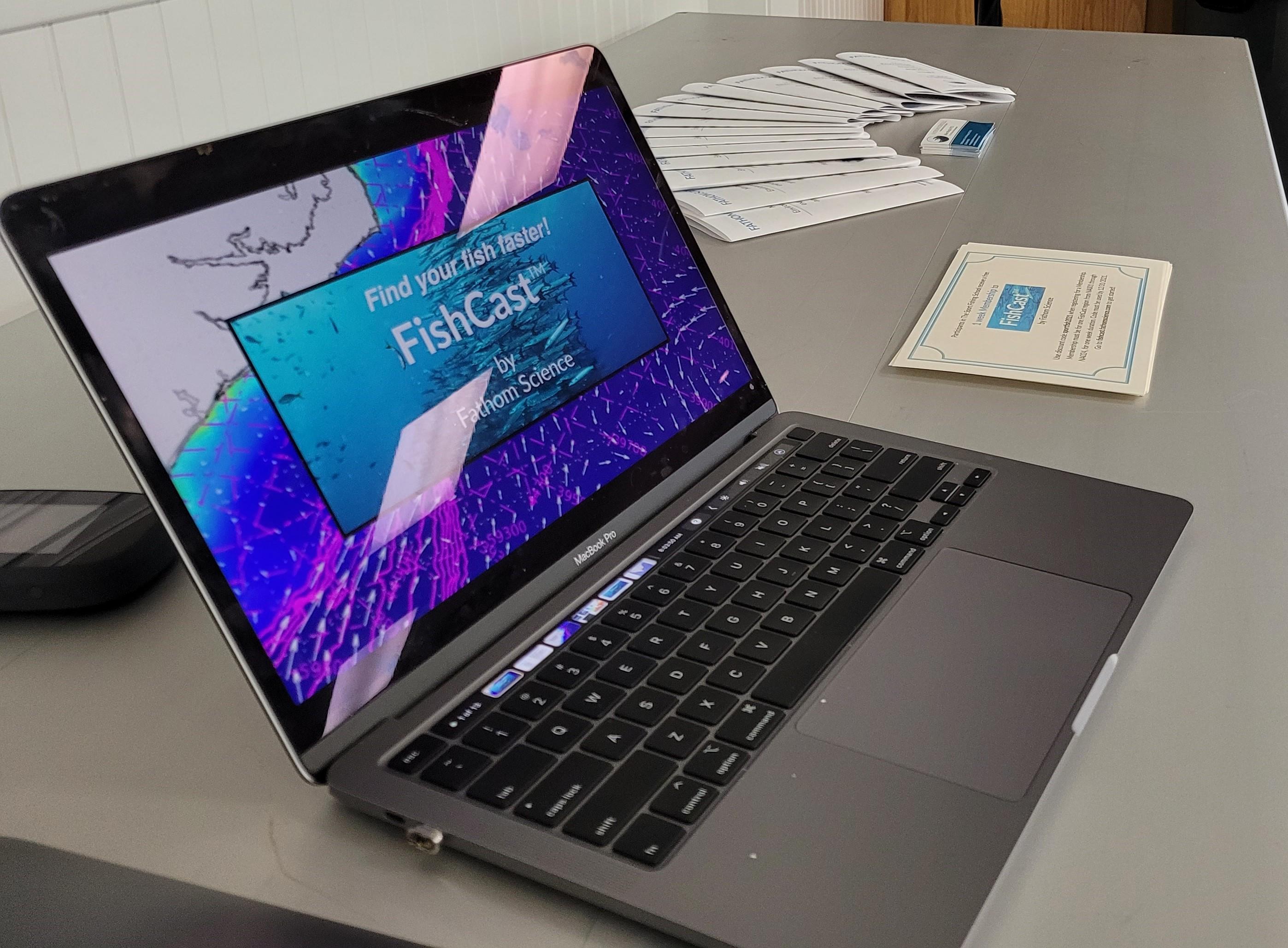 FishCast shown on laptop